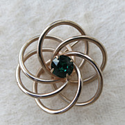 Vintage Atomic Twisted Knot Swirl Pin Brooch Green Goldtone