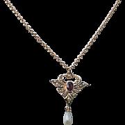 Antique 10k Amethyst Pearl Lavaliere Necklace Gold Edwardian
