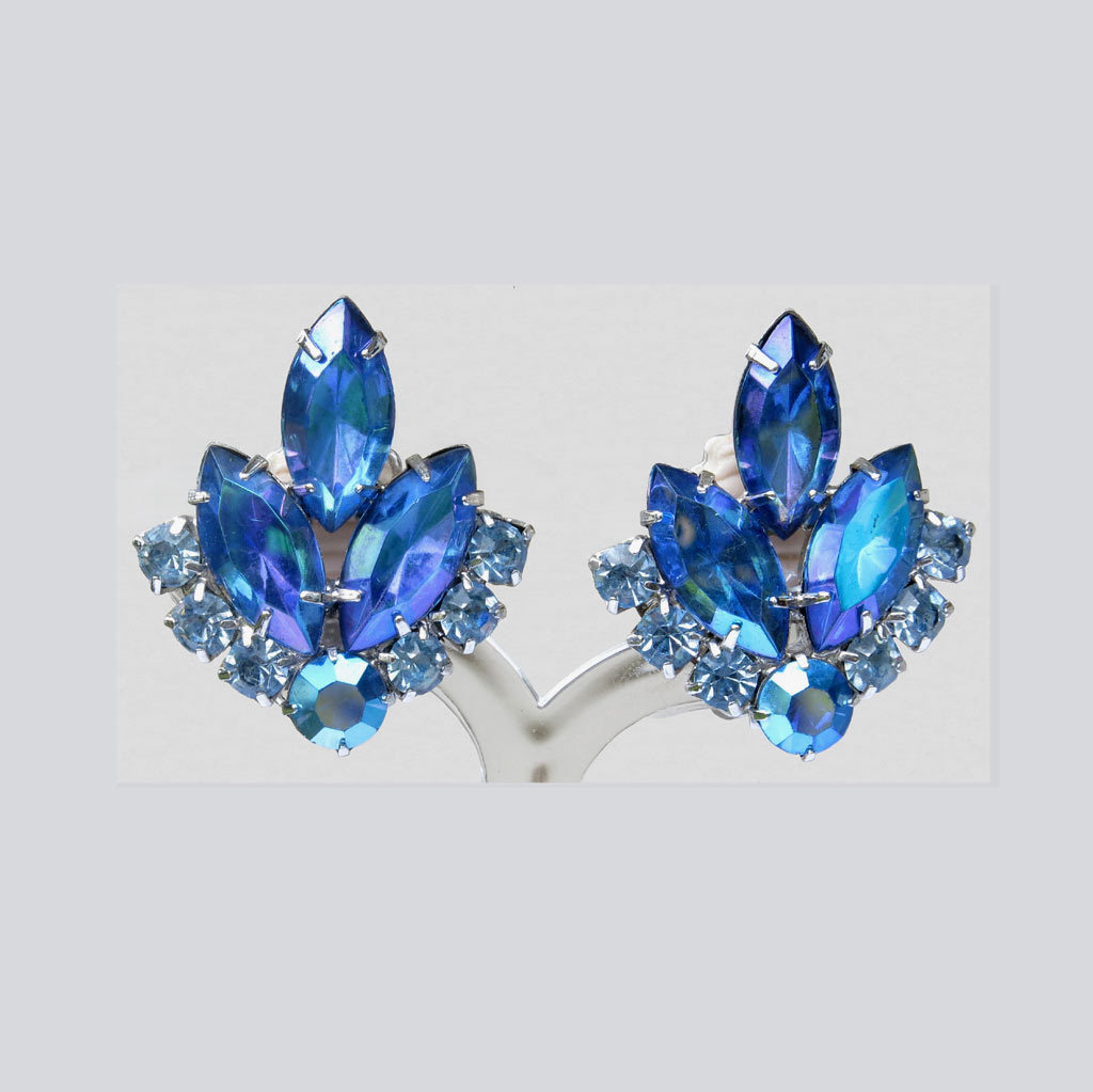 Vintage Delizza Elster Sarah Coventry Blue Lagoon Earrings ca. 1960s