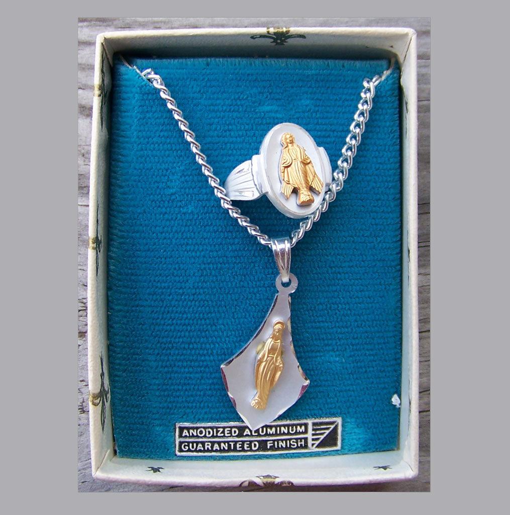 Eloxal Aluminum Catholic Necklace Ring Set Germany NOS Vintage Unused