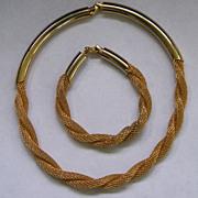 Vintage Hobe Twisted Mesh Demi Parure Necklace Bracelet Set Goldtone