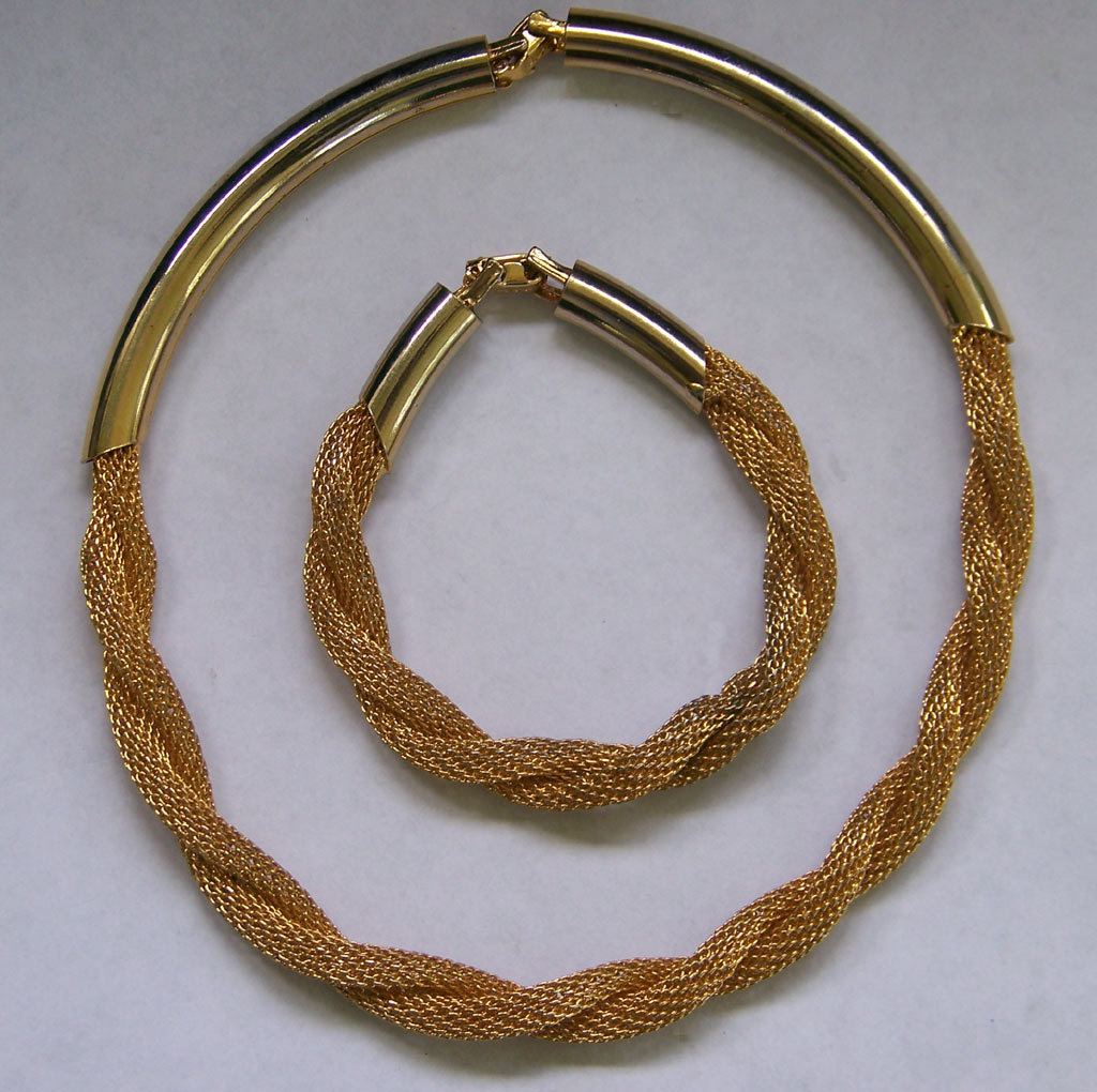 Vintage Hobe Twisted Mesh Demi Parure Necklace Bracelet Set Goldtone