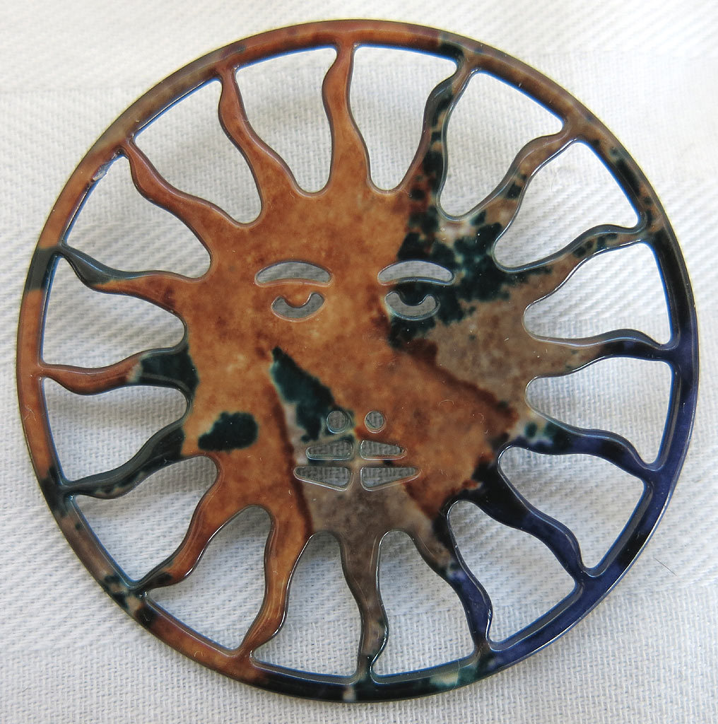 Mottled Enamel Sun Pin Brooch Summer Sun Age of Aquarius