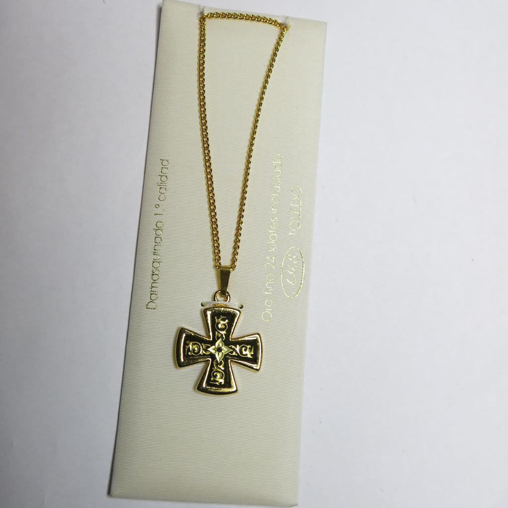 24K GP Damascene Damasquinado Maltese Cross Pendant Necklace Original Card Toledo