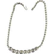 Vintage Crystal Rhinestone Diamante Choker Necklace 8mm Silvertone