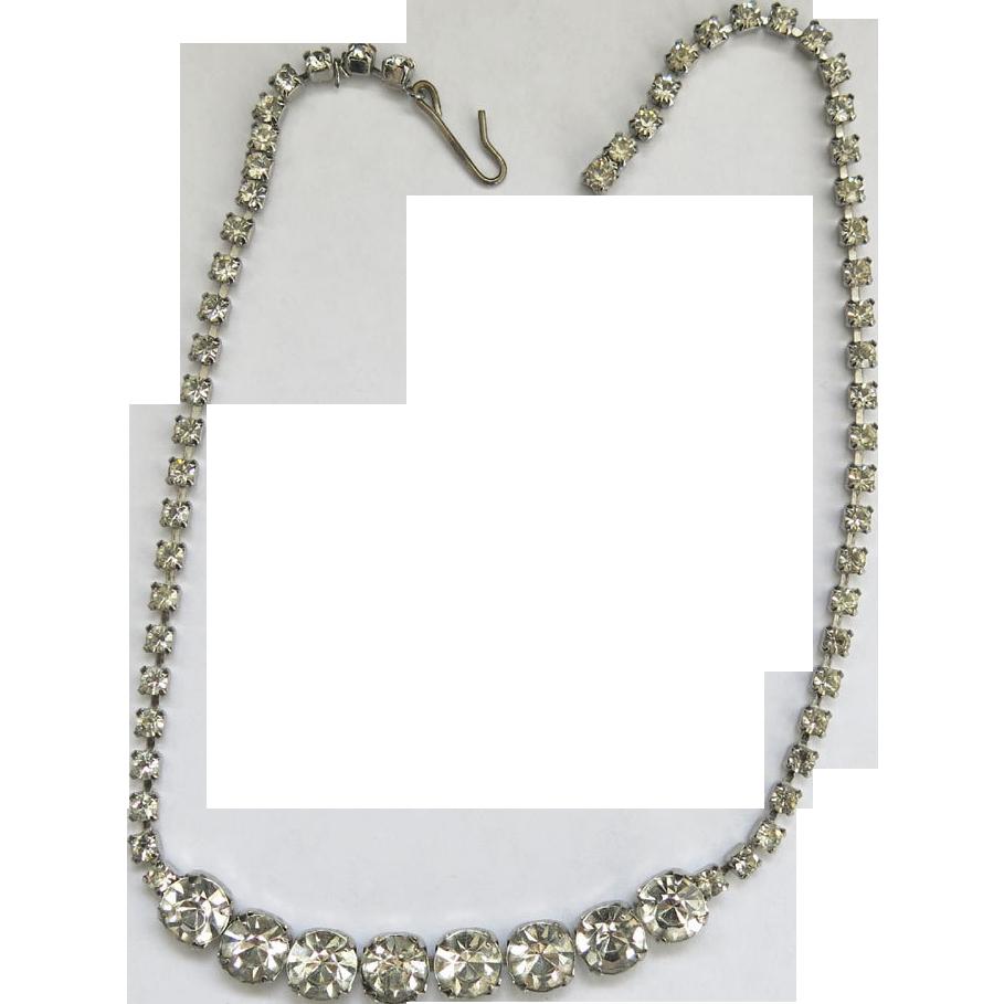 Vintage Crystal Rhinestone Diamante Choker Necklace 8mm Silvertone