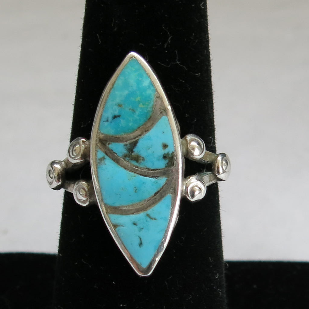 Sterling Silver Modernist Inlaid Turquoise Ring Size 7