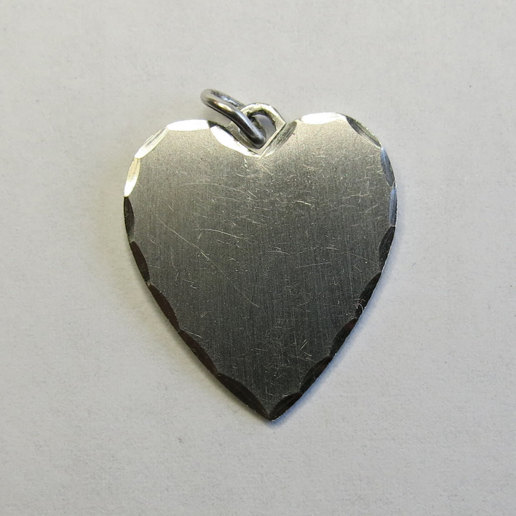 Sterling Silver Wells Heart Charm Diamond Cut Edge SS Ready to Engrave