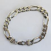Vintage Sterling Mens Figaro Link Bracelet 9 inches Silver  26.5g