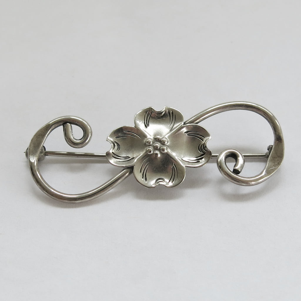Stuart Nye Scroll Dogwood Flower Pin Sterling Silver SS