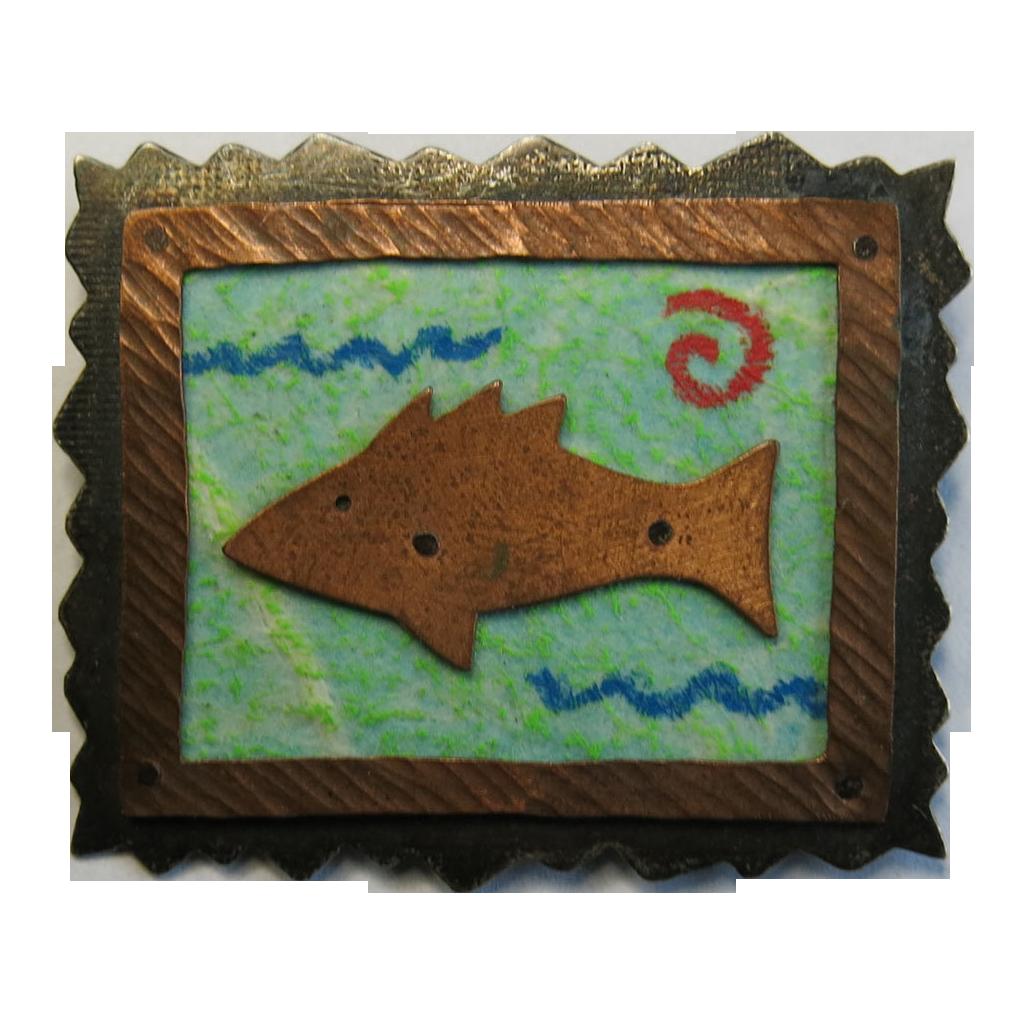 Donchian Sterling Copper Fish Pin 1989