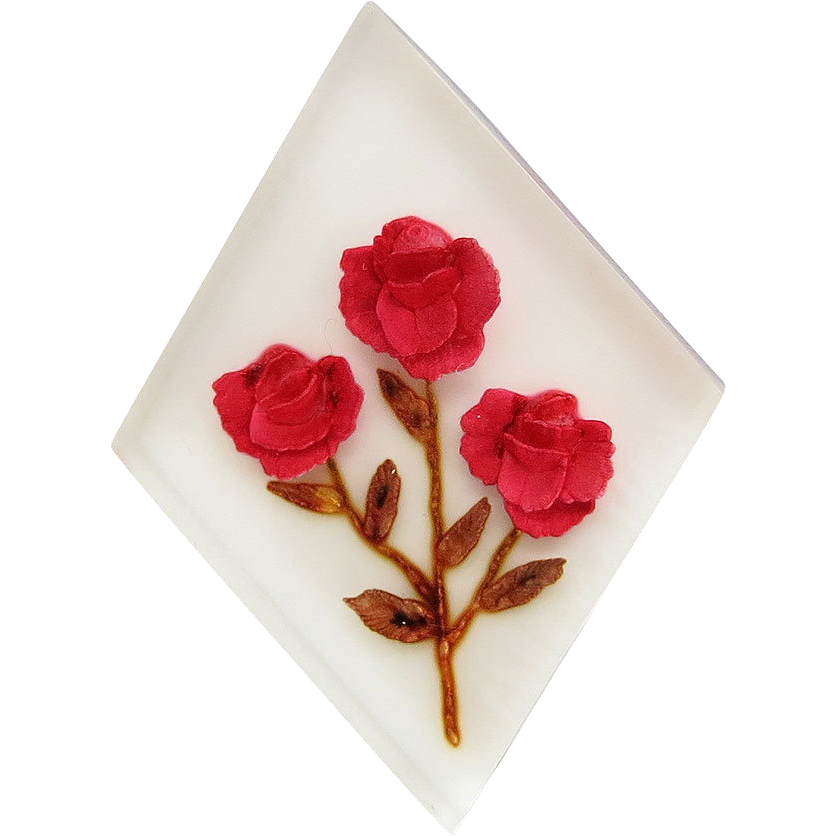 Vintage Reverse Carved Painted Roses Lucite Pin Brooch Rockabilly