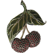 Monet Figural Enamel Rhinestone Cherries Pin Brooch