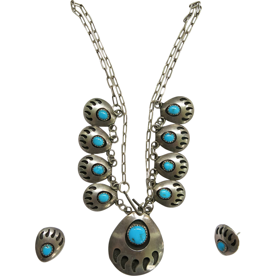Vintage Native American Bear Claw Paw Necklace Earring Set Turquoise Sterling Silver SS