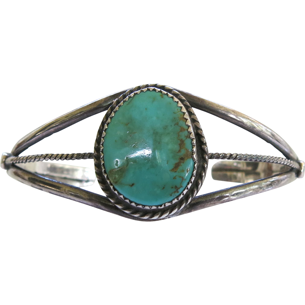 Native American Sterling Silver Turquoise Cuff Bracelet Copper Matrix