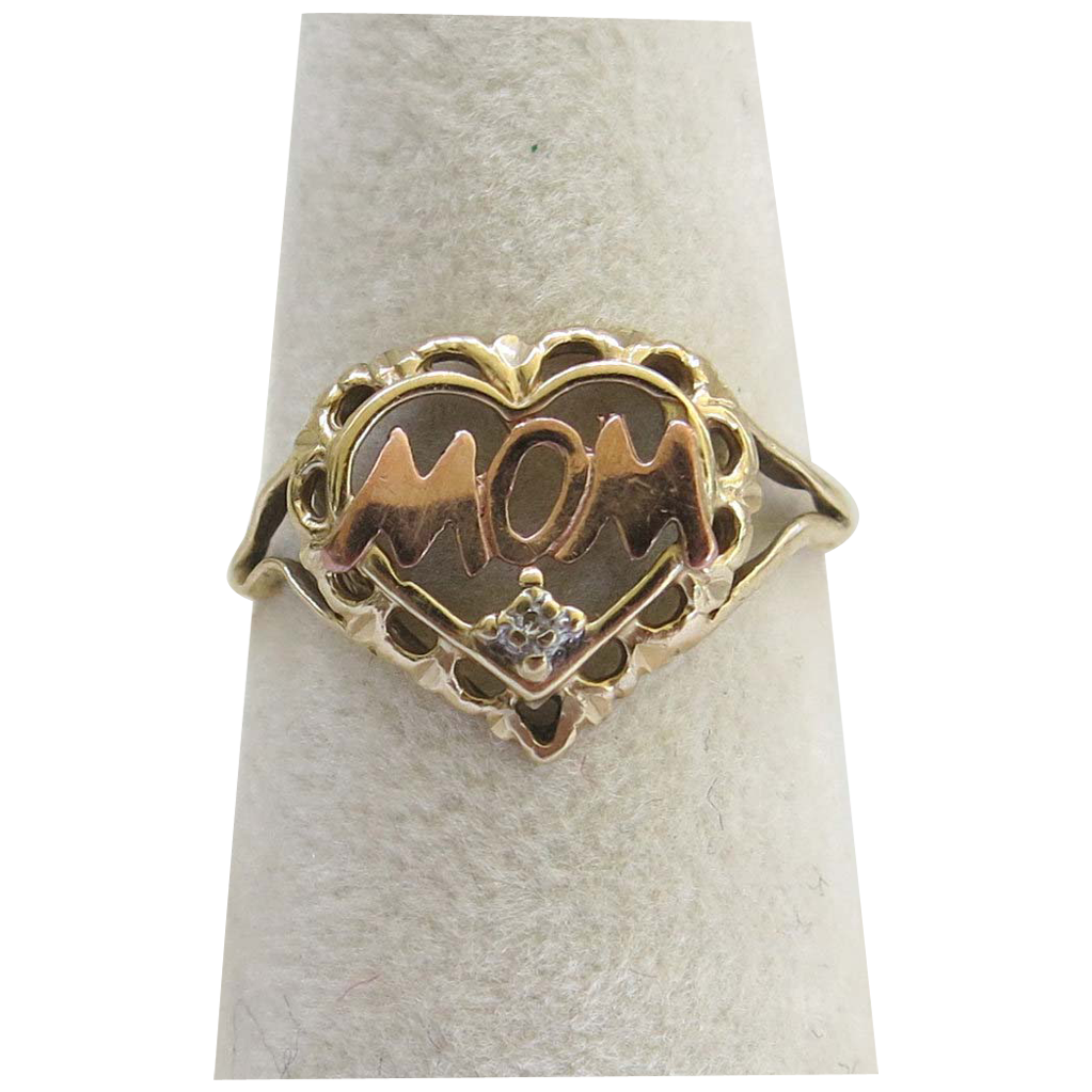 10K Rose Yellow Mom Heart Ring Size 7.5 Gold