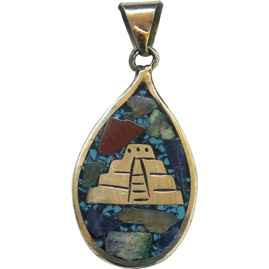 Mexico Sterling Turquoise Goldstone Mosaic Pendant Reversible