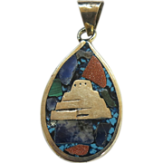 Mexico Sterling Turquoise Goldstone Mosaic Pendant Reversible - Red Tag Sale Item