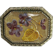 Vintage Intaglio Hand Painted Violets Pin Brooch C-Clasp