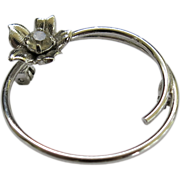 Vintage Sterling Silver Italy Bypass Circle Pin Brooch Dimensional Flower
