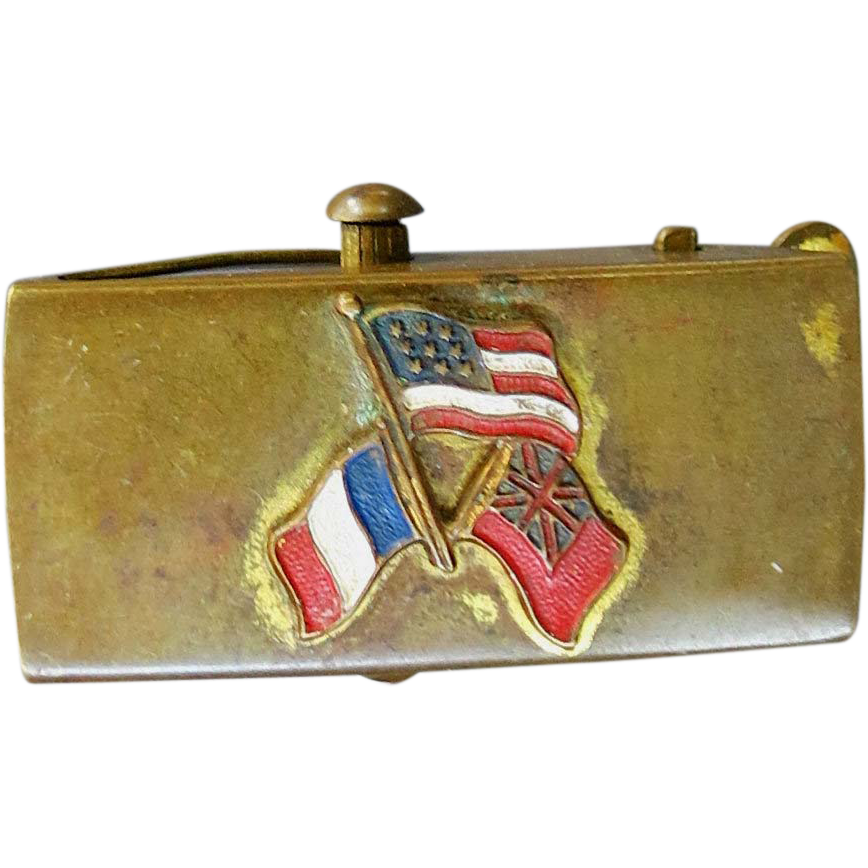 American Revolution Reenactment Buckle Brass France USA American Insurgent Flags