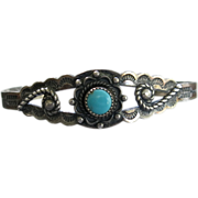 Bell Trading Company Sterling Silver Turquoise Cuff Bracelet circa 1950 NA