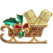 Figural Enamel Goldtone Christmas Sleigh Brooch Pin Teacher Gift