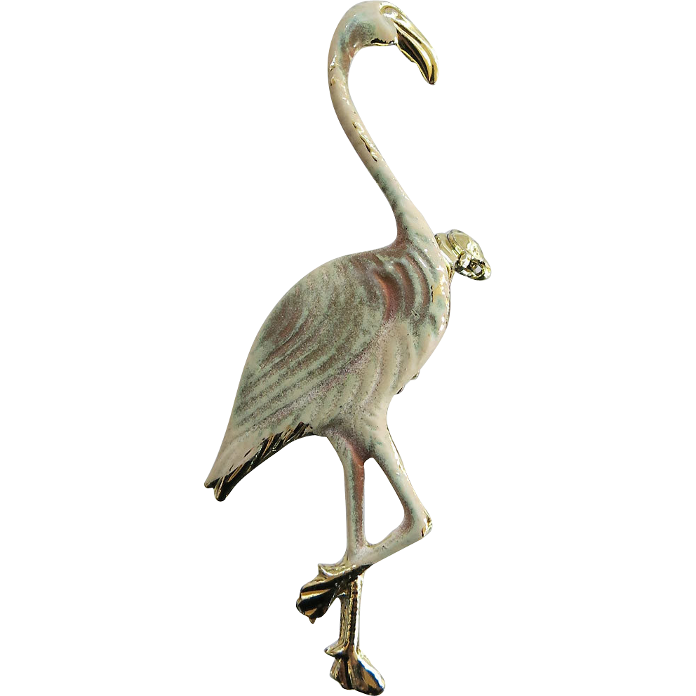 Figural Enamel Flamingo Pin Brooch Vintage Goldtone