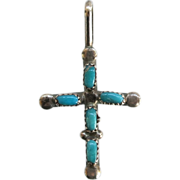 Sterling Silver Turquoise Cross Pendant Small Hand Crafted SS Religious