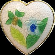 Vintage Figural Heart Enamel Pin Daffodils