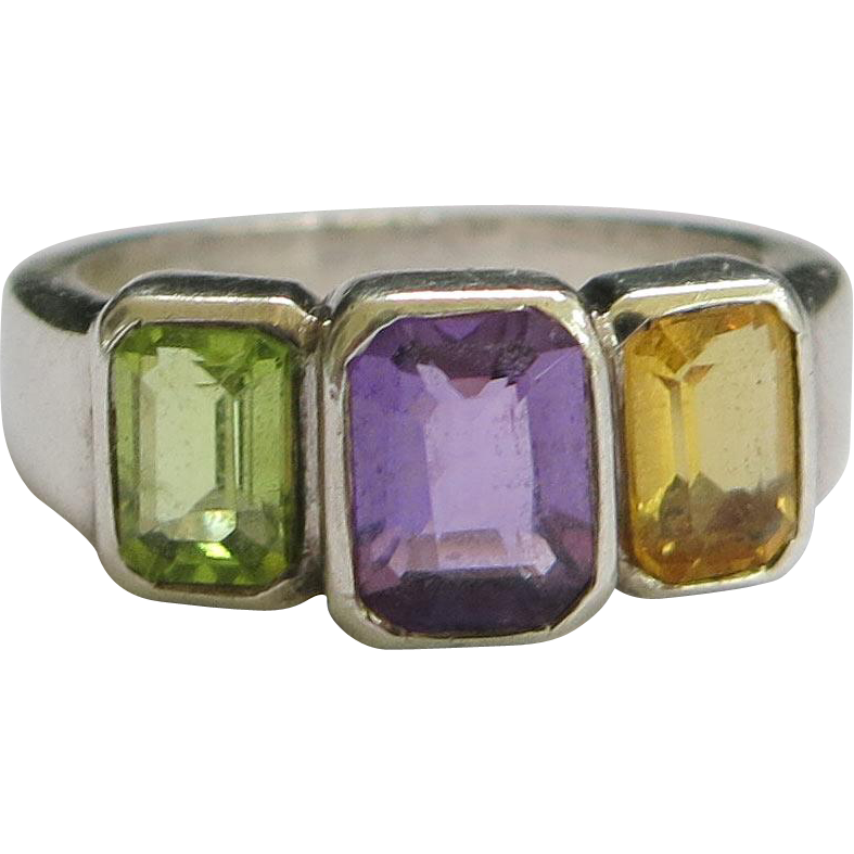 Sterling Rainbow Ring Amethyst Citrine Peridot 3 Stone Vintage Size 6 SS Silver