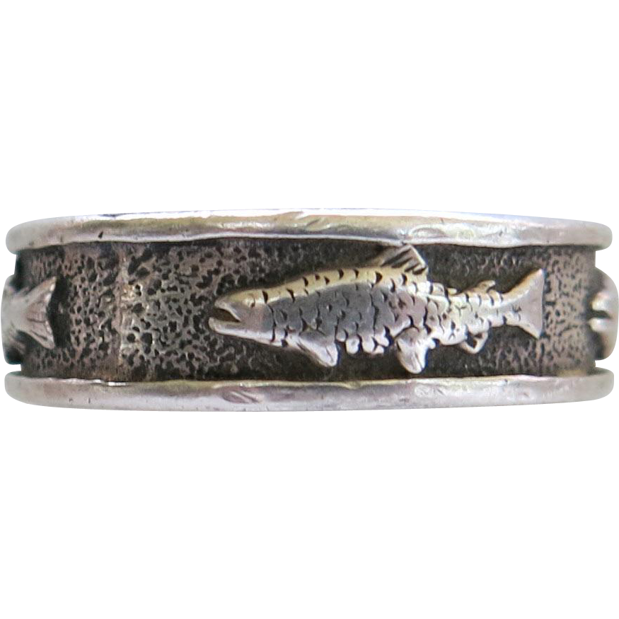 Sterling Fish Band Ring Angler Unisex Man Woman Angler 925 Size 9