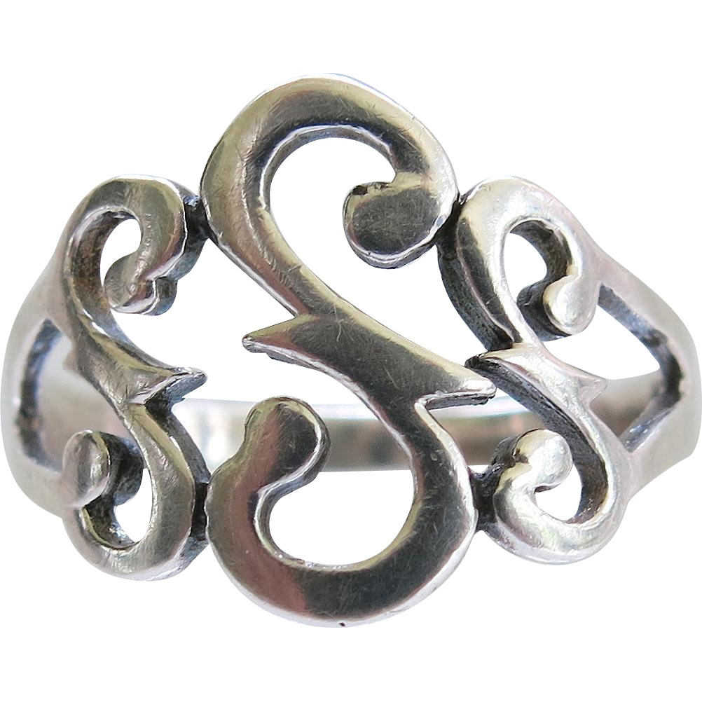 Sterling Initial S Ring Size 9 Silver Fancy Scroll