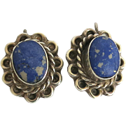 Vintage Taxco Sterling Sodalite Pierced Earrings Complex Matrix 925 Silver TB 28 SS