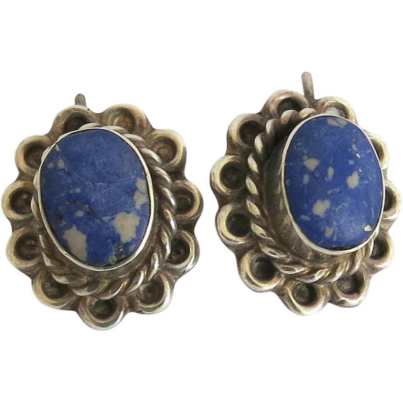 Vintage Taxco Sterling Sodalite Pierced Earrings Complex Matrix 925 Silver TB 28