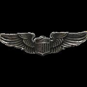 WWII Sterling Pilot Wings Cap Pin Army Air Force Militaria