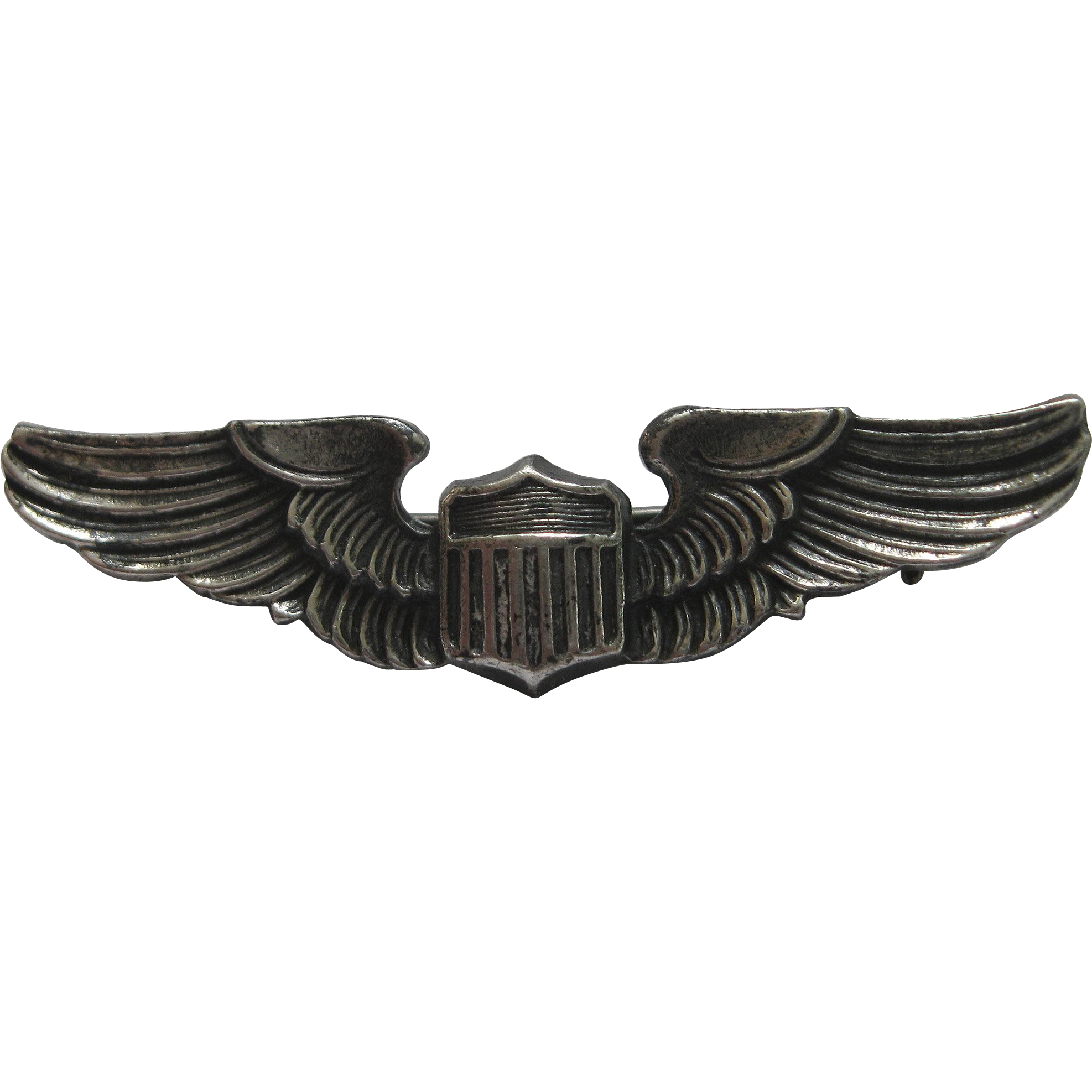 WWII Sterling Pilot Wings Cap Pin Army Air Force Militaria
