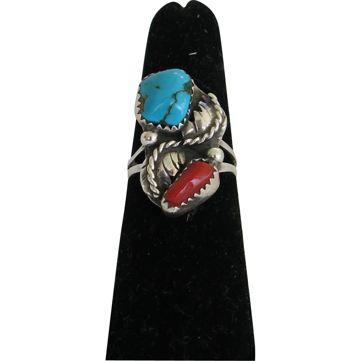 Vintage Turquoise Coral Sterling Silver Ring Size 6.25