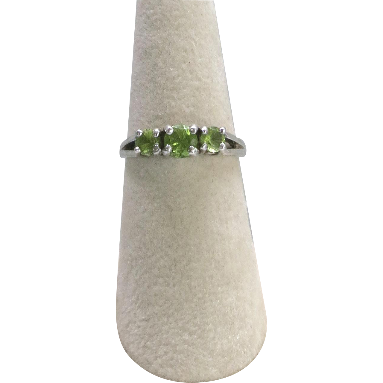 Vintage Sterling Silver Synthetic Peridot Ring Faux Size 6.75