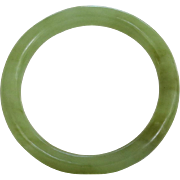 Vintage Nephrite Jade Bangle Bracelet Pale Moss Green