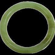 Vintage Nephrite Jade Bangle Bracelet Pale Moss Green