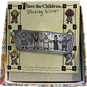 Save The Children Sterling Pin SS Box Vintage Silver