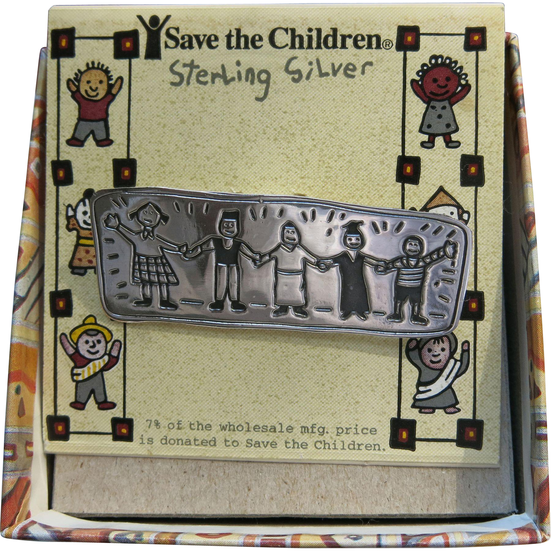 Save The Children Sterling Pin Box Vintage Silver