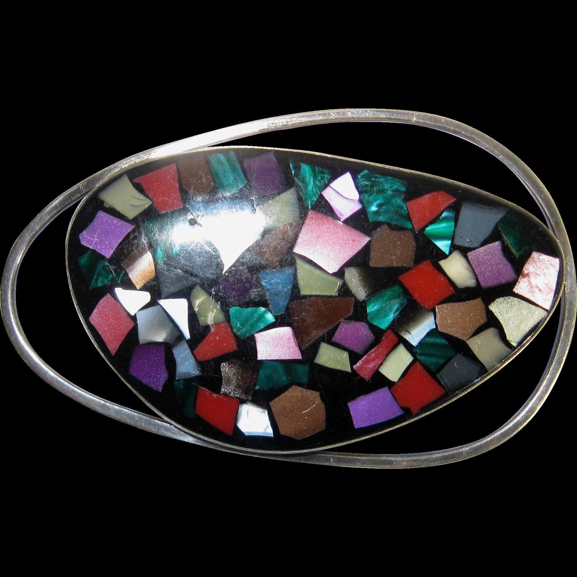 Sterling Modernist Mosaic Pin Pendant Israel Vintage Atomic