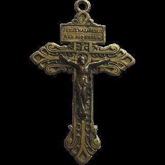 Vintage Brass Pardon Crucifix Sacred Heart Patina