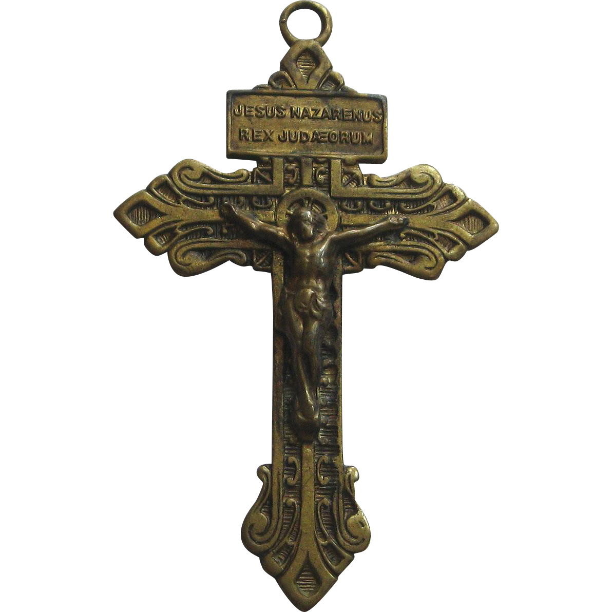 Vintage Brass Pardon Crucifix Sacred Heart Patina