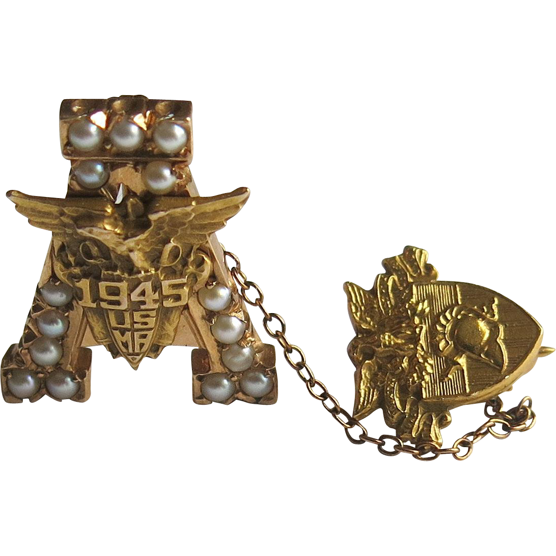 WWII West Point Pin USMA 14k Gold United States Military Academy ...