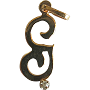 Vintage 14k Letter G Charm Diamond Accent Gold Mid Century