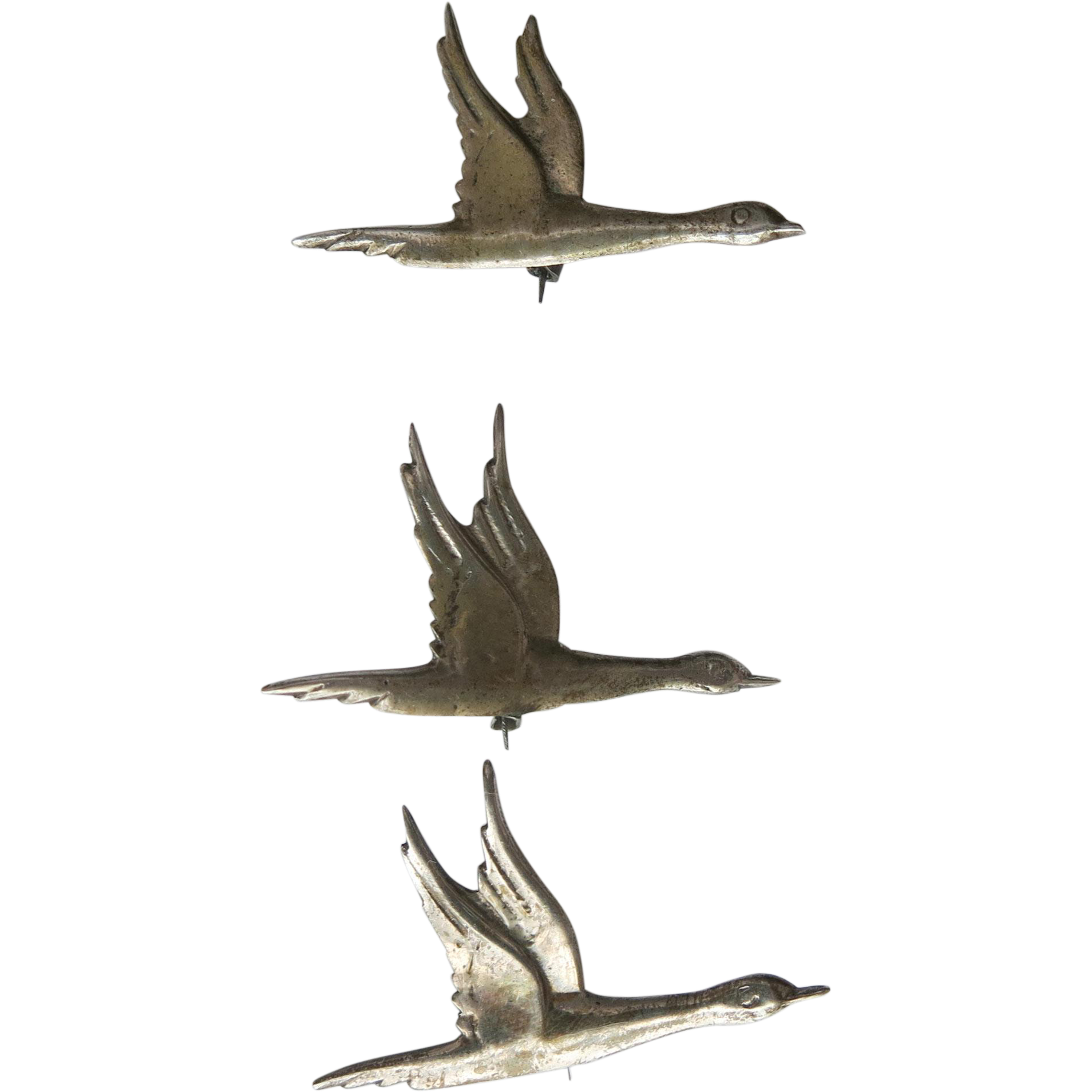 Taxco Sterling Figural Bird Scatter Pins Set 3 Early 1930s Mexico Geese Ducks