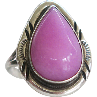 Sterling Navajo Nakai Pink Sugilite Ring Vintage Silver